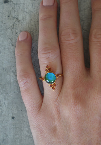 gold handmade mood ring with garnet stones