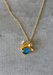 Color changing stone mood ring gold necklace