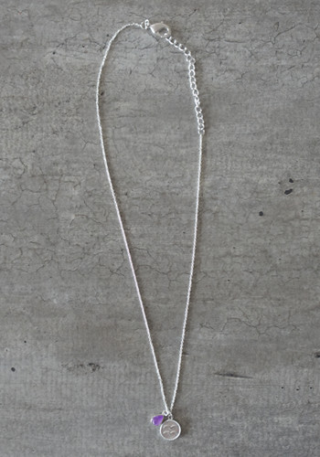 zodiac aquarius necklace with raw amethyst crystal