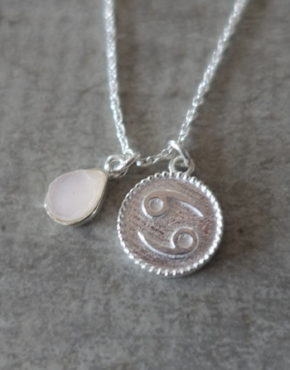 zodiac cancer necklace with raw moon stone crystal