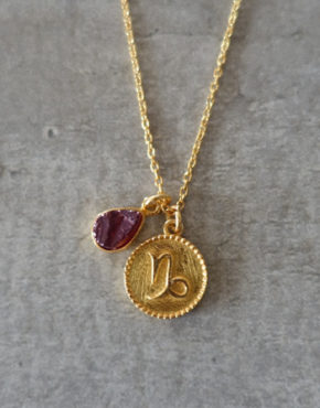 zodiac capricorn necklace with raw garnet crystal