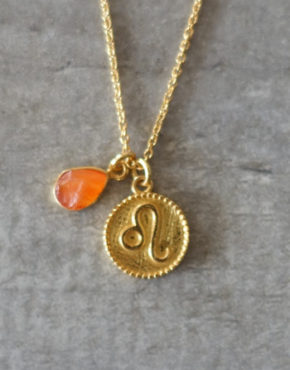 zodiac leo necklace with raw carnelian crystal