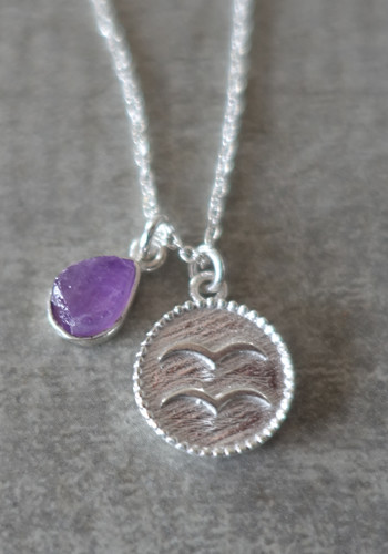 zodiac aquarius necklace with raw amethyst crystal