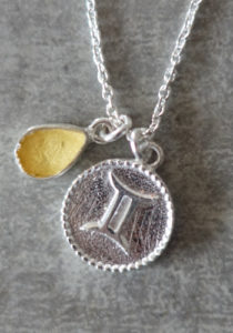 zodiac gemini necklace with raw citrin crystal