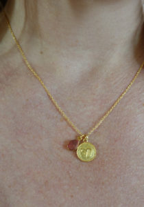 zodiac aries necklace with raw red jasper crystal