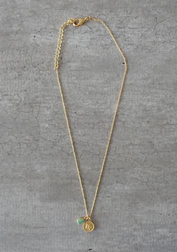 zodiac virgo necklace with raw green aventurine