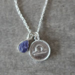 zodiac libra necklace with raw lolite crystal