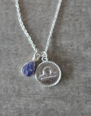 zodiac libra necklace with raw lolite crystal