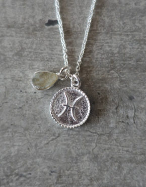 zodiac pisces necklace with raw labradorite crystal