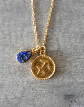 zodiac sagittarius necklace with raw lapis lazuli crystal