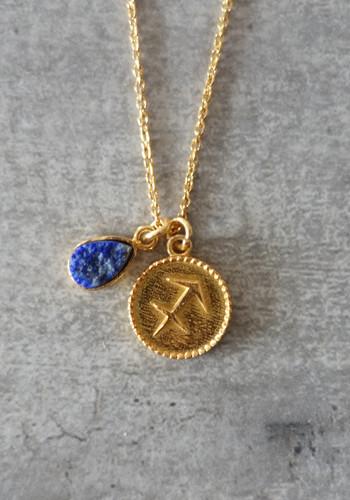 zodiac sagittarius necklace with raw lapis lazuli crystal