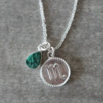 zodiac scorpio necklace with raw malachite crystal