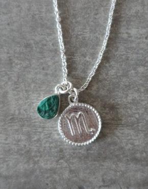 zodiac scorpio necklace with raw malachite crystal