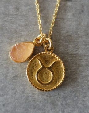 zodiac taurus necklace with raw rose quartz