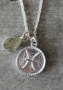 zodiac pisces necklace with raw labradorite crystal