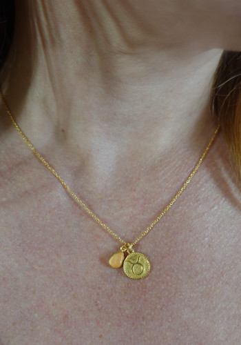 zodiac taurus necklace with raw rose quartz