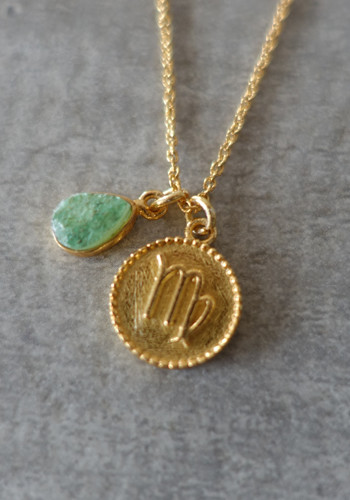 zodiac virgo necklace with raw green aventurine