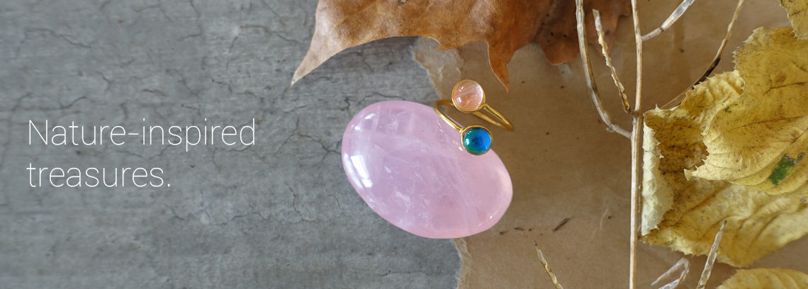 mood ring and rose quartz crystal