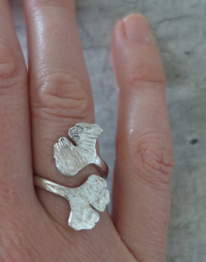 Silver Ginkgo ring