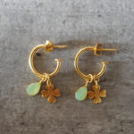 Gold four leaf clover and raw green aventurine earrings