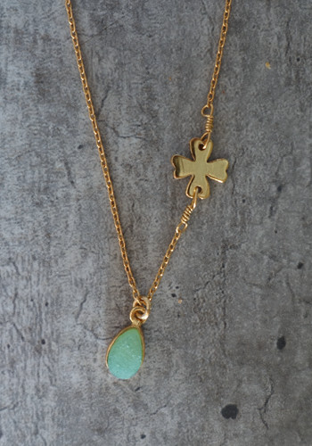 Gold four leaf clover and raw green aventurine necklace
