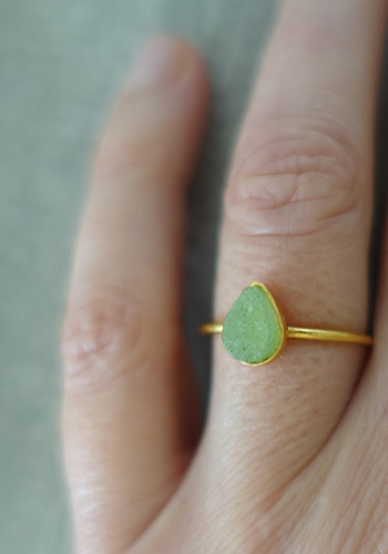 Gold and raw green aventurine ring