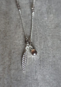 Silver feather necklace with smoked quartz