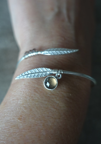 Silver feather bracelet with smoked quartz