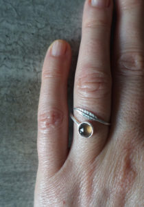 Silver feather ring with smoked quartz
