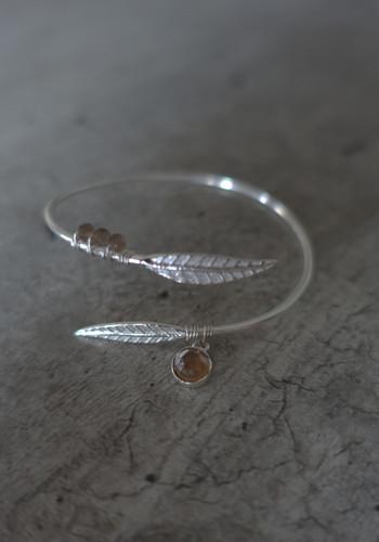 Silver feather bracelet with smoked quartz