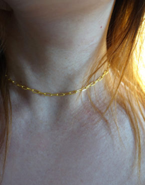 gold large links chain necklace