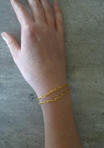 gold large links chain bracelet