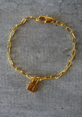 gold padlock and large links chain bracelet
