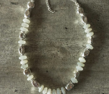 moon stone and silver necklace