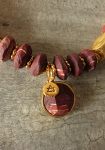 red jasper and gold necklace